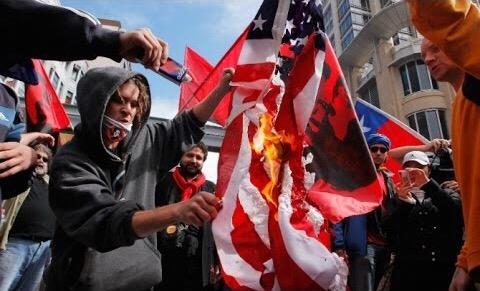 Image result for burn antifa american flag